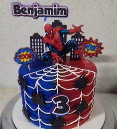 Cake And Cupcake Stand, Cupcake Cakes, Happy Birthday Spiderman, Geek Cake, Cake Disney, Disney Frozen, Spiderman Balloon, Avenger Cake, Cake Templates