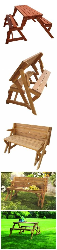 How to build a DIY 2-in-1 convertible folding bench and picnic table combo - Diy Interesting