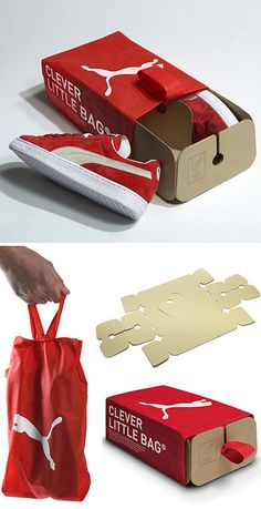 This Clever Little Bag, designed by San Francisco designer Yves Béhar of Fuseproject, uses a recyclable heat-woven bag and a flat-pack cardboard tray that provides structure. This new product uses 65% less cardboard than a standard shoe box, has no laminated printing and does not contain tissue paper