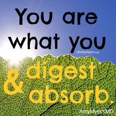 "You may know the old saying, ""You are what you eat,"" but I'd like to counter that and say, ""You are what you digest and absorb!"" - See more at: http://www.dramymyers.com/2013/11/15/digest-absorb/#sthash.TCYg7pzI.dpuf"