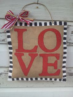 LOVE Burlap Door Hanger