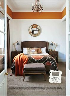 Orange paint above picture rail.
