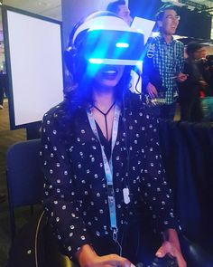 An awesome Virtual Reality pic! Playing with the #playstationvr headset! For the first time playing some games that are really fun and visually stunning. These headsets are more than a novelty!  #playstationexperience2015 #psx2015 #playstationexperience #videogames #vrtech #virtualreality #scifi #futurists #sanfrancisco by sugargamers check us out: http://bit.ly/1KyLetq