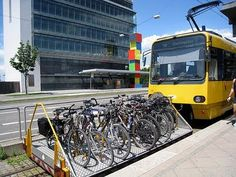 Clever method for transporting transit rider's bikes; rides the track in front of the lead rail car on the Zahnradbahn in Stuttgart, Germany.