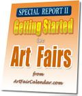 Outdoor displays for Fused Glass Arts selling jewelry, functional and art work - Art Fair Insiders