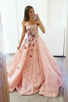Strapless Pink Lace Long Ball Gown with Floral Embroidery Cheap Prom Dresses Prom Dresses Lace, Pink Prom Dresses, Ball Gown Prom Dresses, Sleeveless Prom Dresses, Prom Dress Prom Dresses 2020 Cheap Formal Dresses, Prom Dresses For Teens, A Line Prom Dresses, Teen Dresses, Elegant Dresses, Long Dresses, Dresses Dresses, Maternity Dresses, Homecoming Dresses