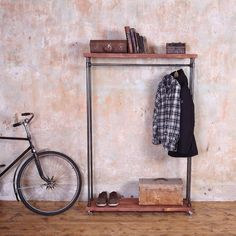 CosyWood Industrial Style Reclaimed Wood Clothes Rail (£325) ❤ liked on Polyvore featuring home, furniture, storage & shelves, salvaged wood furniture, reclaimed barn wood furniture, recycled wood furniture, industrial reclaimed wood furniture and industrial furniture