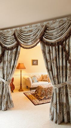 Bleu Fleur De Lis Chenille Damask Designer Curtain Set With Swags And Tails  Curtains