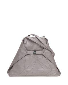 Ai Medium Leather Shoulder Bag, Gray Metallic, Grey Metallic - Akris