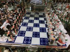Chess Set Russo da Gardner Tabuleiro em porcelana azul ..