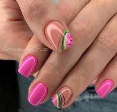 Minimalist Nails, Fruit Nail Designs, Nail Art Designs, Nail Art Hacks, Hot Nails, Hair And Nails, Fruit Nail Art, Gel Nagel Design, Pink Acrylic Nails