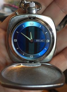 Relic By Fossil Pocket Watch Rare Lcd Dancing Display Face ZR5504