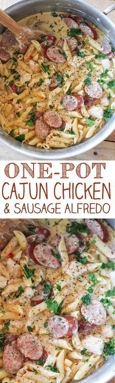 One Pot Cajun Chicken Pasta Alfredo with Sausage - spaghetti squash instead of pasta???