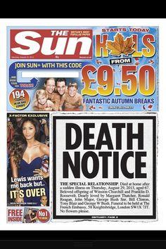 """Special Relationship"" between UK & EEUU is dead...............The Sun Newspaper #tabloid"