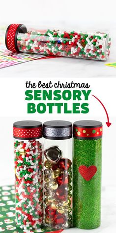 Best Christmas Sensory Bottles - Learn how to make 3 DIY Christmas sensory bottles for kids! A festive holiday idea for preschool centers. Follow Fireflies and Mud Pies on Pinterest for more Christmas activities for kids. Christmas Jars, Christmas Ribbon, Christmas Crafts, Christmas Lights, Glitter Sensory Bottles, Glitter Jars, Christmas Activities For Kids, Fun Crafts For Kids, How To Make Glitter