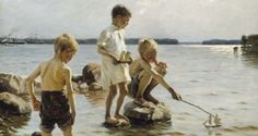 Albert Gustaf Aristides Edelfelt July 1854 - 18 August was a Finnish painter born in Porvoo, Finland. His father Carl Albert was an architect. Google Art Project, Art Plage, La Rive, Nordic Art, Boys Playing, Gustav Klimt, Renoir, Love Painting, Vincent Van Gogh