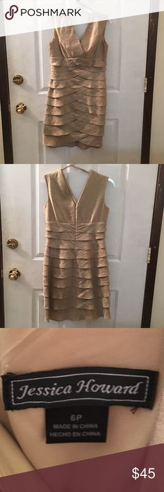 Jessica Howard Gold Dress Size 6P Jessica Howard Dress Size 6P. Worn Once. My mother wore it to my sisters wedding. Purchased at Dillard's. Please feel free to ask any questions or make an offer! Jessica Howard Dresses