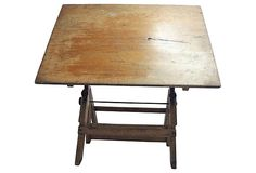 Solid, Sturdy Vintage School Drafting Table With Beautiful Aged Iron  Hardware. Top Tilts.