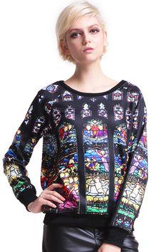 ROMWE   Portrait Print Black Pullover, The Latest Street Fashion