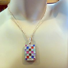 "Beautiful Necklace pink blue red clear Brand New. Pendant 1"" by 1 3/4"" Jewelry Necklaces"
