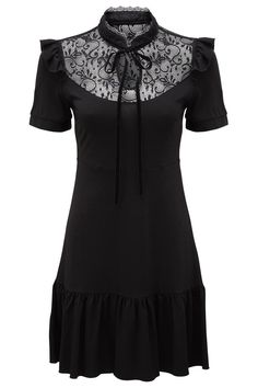 Raven Never-Ruffle Dress [B] | KILLSTAR She would be Miss Dracula to you - the 'Never Ruffle' is a seductively flattering skater dress with delicate lace yoke with high accent collar and velvet ribbon tie, with cap sleeve and ruffle feature.In the softest touch jersey, you're ready to go from day-to-night with ease in this flattering and versatile dress!