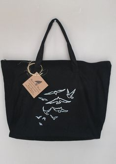 Flock of birds embroidery purse tote beach bag by RavensThread, $25.00