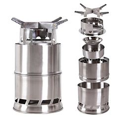 NEW!! Wealers Stainless Steelt Wood Stove or Solidified Alcohol Stove, Foldable Lightweigh, Great for Outdoor Cooking Picnic Barbecue Camping and Survival,