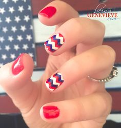 Waving Glory | Step-by-step tutorial on how to create this cute and simple patriotic nail art design. This is the perfect manicure for any 4th of July celebration . . .