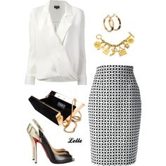 Giorgio Armani wrap blouse by lellelelle on Polyvore featuring polyvore, fashion, style, Giorgio Armani, Alexander McQueen, Christian Louboutin, Yves Saint Laurent and Chanel