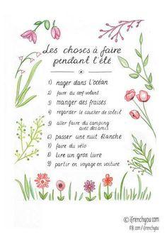 Les choses à faire pendant l'été : liste de verbes...not sure what it says but I think it must say something wonderful