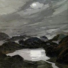 Kyffin Williams paintings Evening seascape, boulders and a full moon behind clouds. #Art #Oilpainting #KyffinWilliams