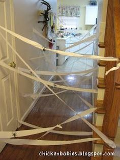 Halloween decorations : DIY Lair of the Spider Queen-- Use shredded strips of gauze cloth.