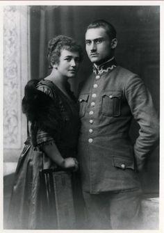Podporucznik Stanisław Krzyżowski, komendant POW G.Śl. na powiat pszczyński w latach 1920-1921 z żoną Marią.