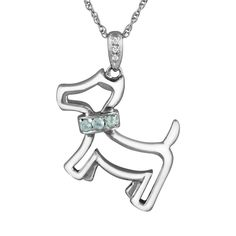 """Sterling Silver Aquamarine and Diamond Accent Dog Pendant, Women's, Size: 18"""", Blue"""
