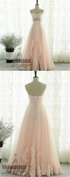 Pink Sweetheart Beading Lace Tulle Lace Up Open Back A-Line Long Prom Dress, Prom Dresses, VB0272 #promdress