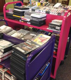An example of a small amount of items that the Circulation staff at OLPL is checking in.