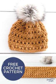 Free Crochet Pom Pom Hat with a Free tutorial on how to find the best faux fur poms! Make this easy crochet beanie pattern with a fur pom pom on top! You'll love how easy it is crochet this faux fur pom pom crochet hat! Crochet Headband Free, Crochet Baby Hats, Free Crochet, Crochet Hats For Girls, Chunky Crochet Hat, Crochet Adult Hat, Easy Crochet Hat Patterns, Crochet Beanie Pattern, Knitting Patterns