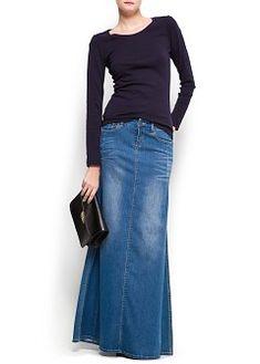 Strass denim long skirt + black basics long sleeved, boat neck top