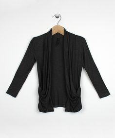 Another great find on #zulily! Charcoal Drape Pocket Open Cardigan - Girls by Rags and Couture #zulilyfinds