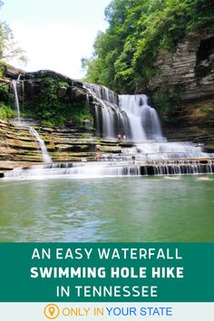 There's an easy, beautiful waterfall hike to enjoy in Tennessee's Cummins Falls State Park. The mile long loop trail is popular all year but the swimming hole is a summer favorite. | Best Hikes | Short Trails | Beginner and Family Friendly | Natural Pool | Dogs Allowed | Day Trips | Picnic Spots | Photgraphy Cummins Falls State Park, Natural Swimming Pools, Natural Pools, Lap Pools, Indoor Pools, Backyard Pools, Pool Decks, Pool Landscaping, Alaska Travel