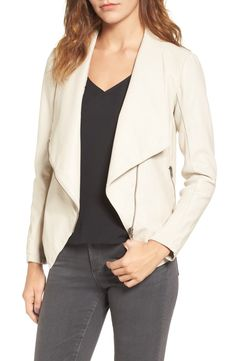 Supple faux leather adds luxe texture to this softly structured drape-front jacket with rib-knit sleeve panels for a comfortable, flexible fit.