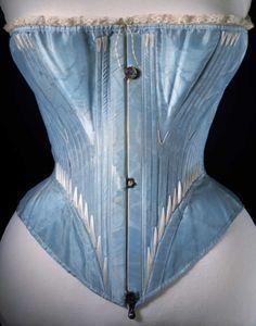 Corsé de seda azul, V & A, c. 1864
