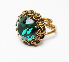 Stunning Vintage Emerald Green Ring Made in by LorettasCache, $37.00