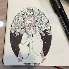 Hail~ Lame excuse to doodle flowers :^> Kawaii Drawings, Cool Drawings, Pretty Art, Cute Art, Flower Doodles, Doodle Flowers, Marker Art, Kawaii Art, Aesthetic Art