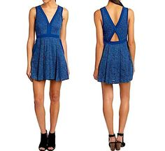 6a9615716a88 FREE PEOPLE S Lace Fit and Flare Dress Blue Open Back Embroidered Mini Small  4 6