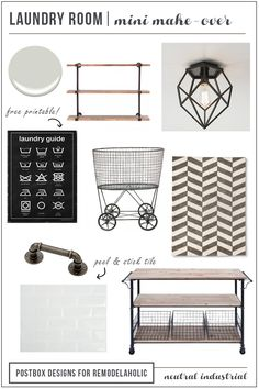 Industrial Laundry Room, Mini Makeover -- how to make any laundry room have an industrial vibe, without ripping everything out! by Postbox Designs for Remodelaholic.com