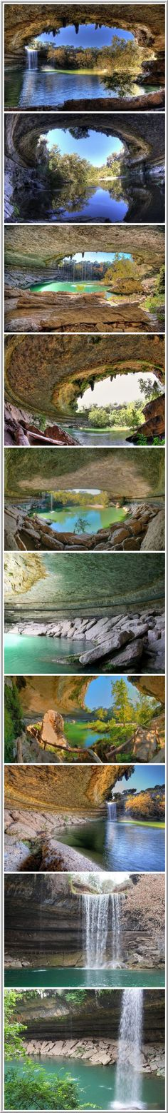 Hamilton Pool – a natural water basin formed about a thousand years ago as a result of the collapse of the tunnel arch, which flowed underground river. Pool is located about 37 km from the U.S. city of Austin – the capital of Texas.