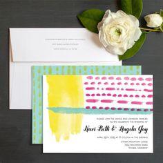 Abstract Watercolor Wedding Invitations by Bunny Bear Press | Elli