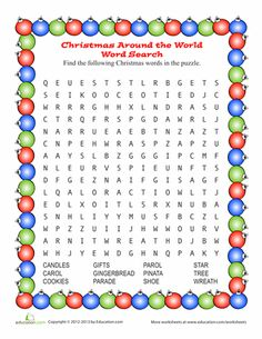 Worksheets: Christmas Around the World Word Search for Kids & Adults