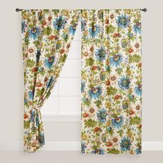 Possibly replace Dining and Kitchen Slider with curtains like this? idk.. greens a little off. but it pulls in the blue yellows and rust.One of my favorite discoveries at WorldMarket.com: Floral Fiesta Curtain